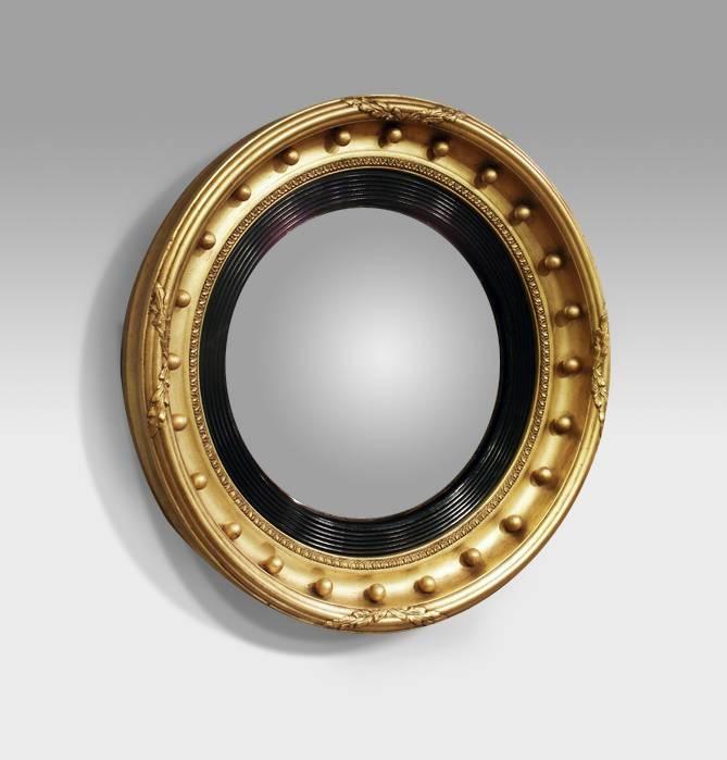 Antique Convex Mirror, Gilt Convex Mirror, Antique Butlers Mirror With Round Porthole Mirrors (#7 of 30)