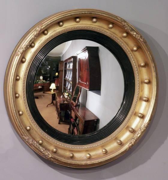 Antique Convex Wall Mirror, Round Gilt Mirror, Antique Round Within Round Convex Wall Mirrors (#8 of 30)
