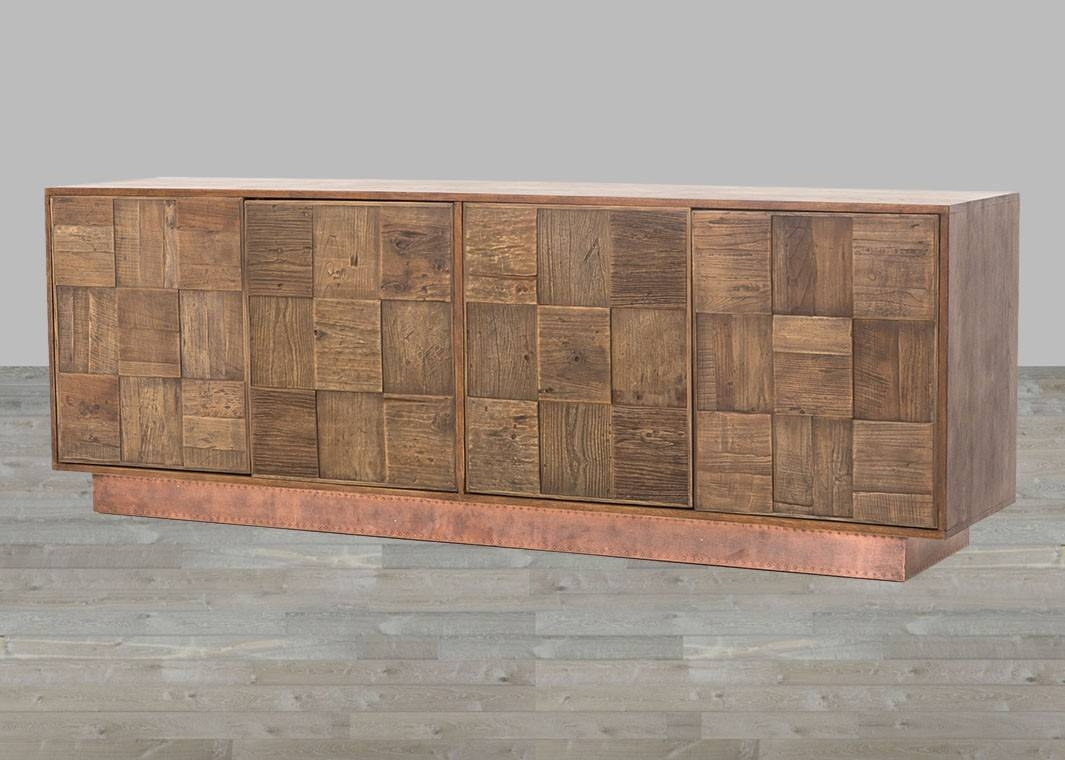 Antique Copper Clad Dark Brown Oak Reclaimed Elm Sideboard Inside Dark Brown Sideboard (#1 of 20)