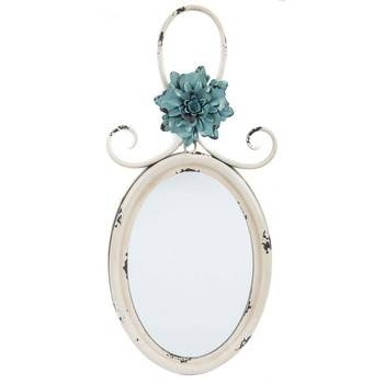 Antique Cream Metal Wall Mirror With Blue Flower   Hobby Lobby With Regard To Antique Cream Wall Mirrors (View 3 of 20)