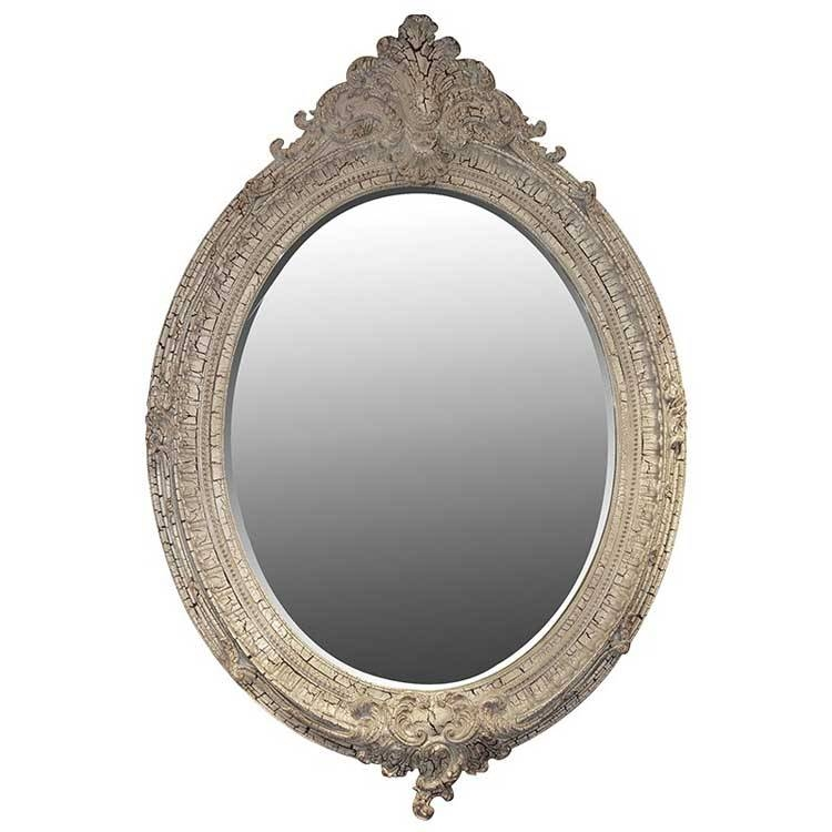 Antique Cream Oval Mirror 152 X 104Cm Antique Oval Mirror Cream For Oval Cream Mirrors (#9 of 30)