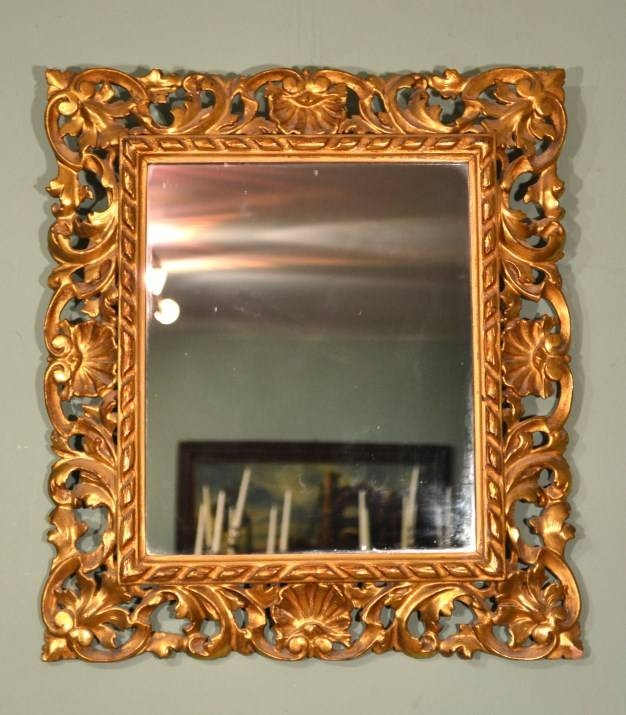Antique Elaborate Gilded Hand Carved Florentine Mirror With Regard To Elaborate Mirrors (View 20 of 30)