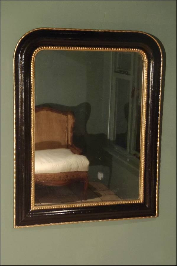 Antique French Black And Gold Archtop Mirror In From On The Wall Throughout Black Antique Mirrors (#10 of 30)