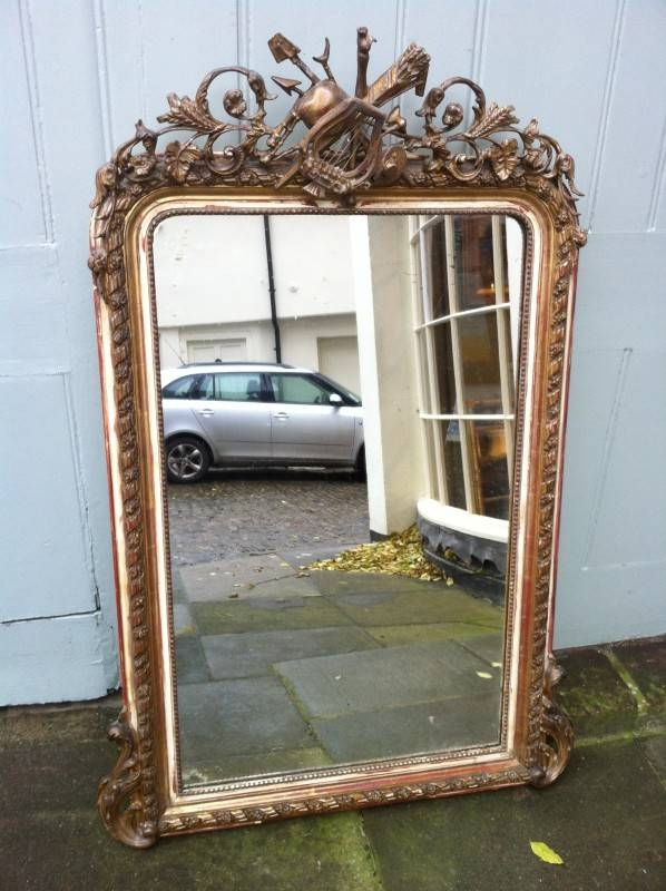 Antique French Gilt Ornate Wall Mirror (View 6 of 30)