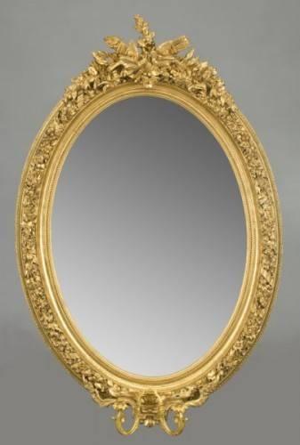 Antique French Louis Xvi Oval Mirror – Latique Antiques Throughout French Oval Mirrors (#10 of 30)