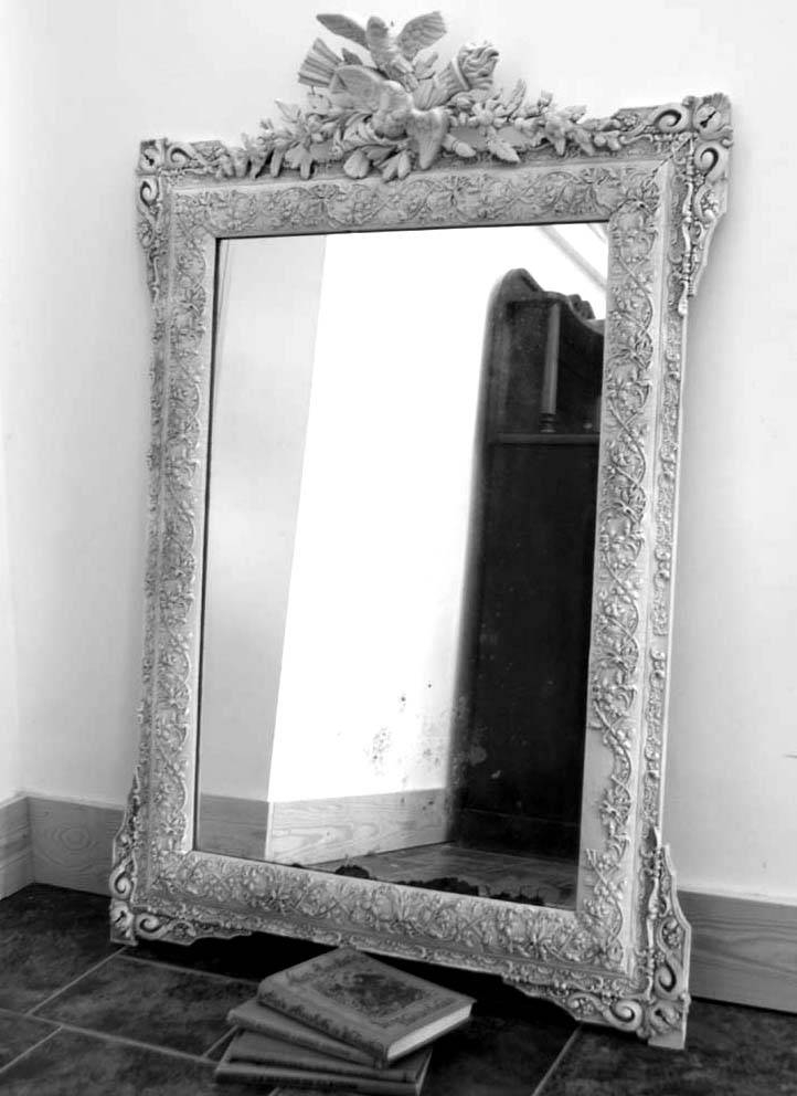Antique French Mirror Distressed – Shabby Chic Grey Painted In Black Shabby Chic Mirrors (#12 of 20)