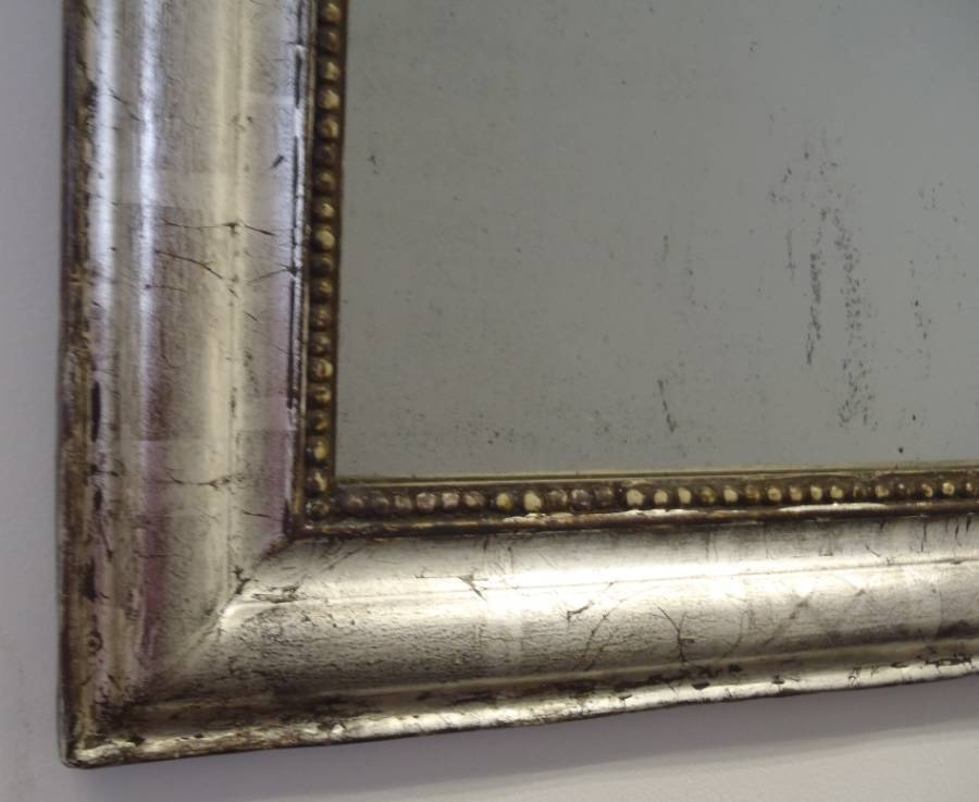 Antique French Mirror With Distressed Silver Gilding And Criss Inside Distressed Silver Mirrors (#6 of 20)