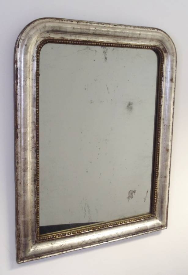 Antique French Mirror With Distressed Silver Gilding And Criss Intended For Distressed Silver Mirrors (#7 of 20)