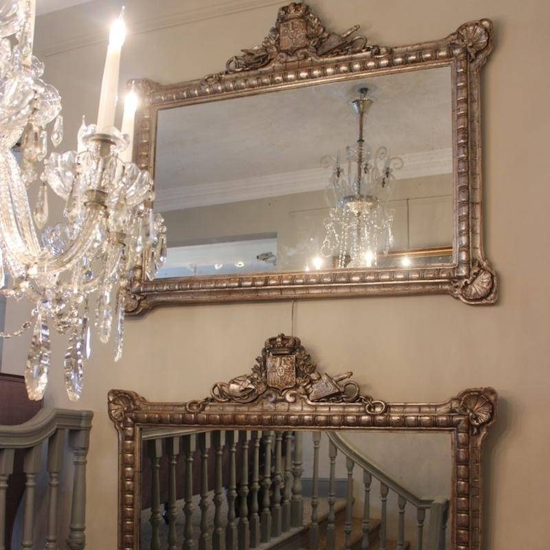 Antique French Mirrors – Large Venetian Mirrors, Bevelled Edge Throughout Large Silver Gilt Mirrors (#7 of 30)