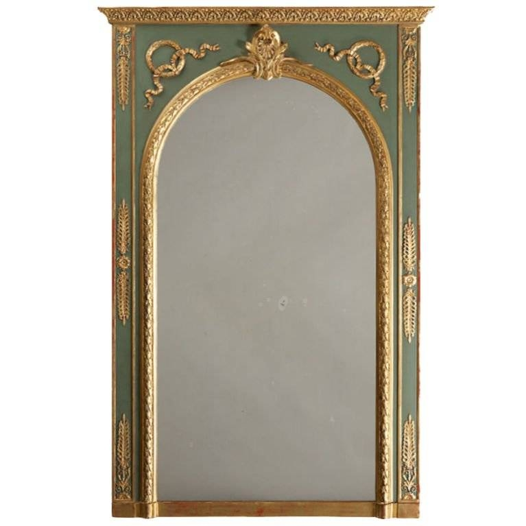 Antique French Neoclassical Painted And Gilt Mirror, Circa 1895 Pertaining To French Gilt Mirrors (#10 of 30)