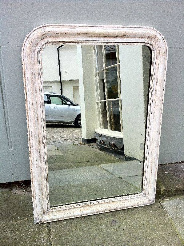 Antique French Original Painted White Wall Mirror (#13 of 30)