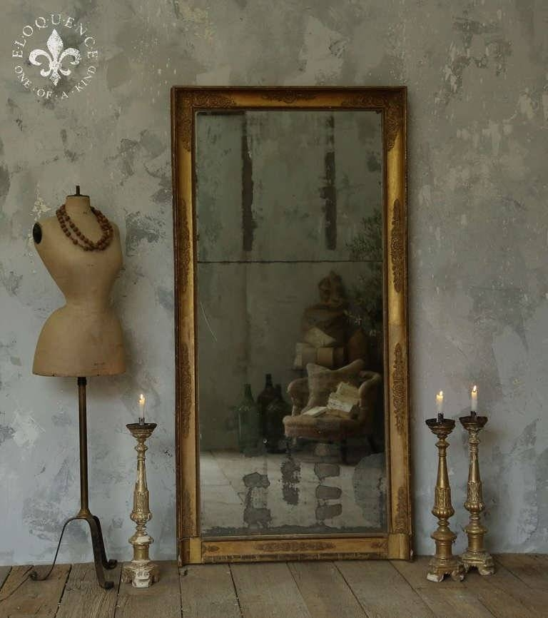 Antique Full Length Mirror With Original Paned, Worn Glass At 1Stdibs With Vintage Long Mirrors (View 7 of 30)