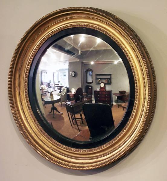 Antique Gilt Convex Mirror, Antique Round Mirror, Regency Round Within Round Antique Mirrors (View 4 of 30)