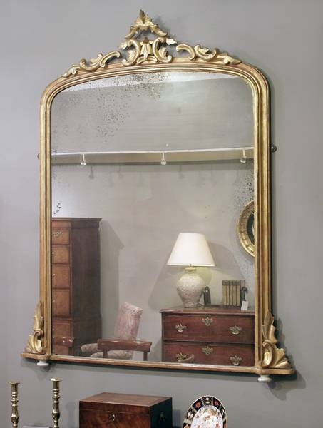 Antique Gilt Overmantel Mirror, Mantelpiece Mirror, Fireplace For Mantelpiece Mirrors (#12 of 30)