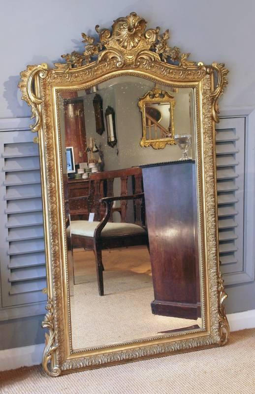 Antique Gilt Pier Mirror, Gilt Overmantel Mirror, Gilt Over Mantel Regarding Gold Mantle Mirrors (#10 of 30)