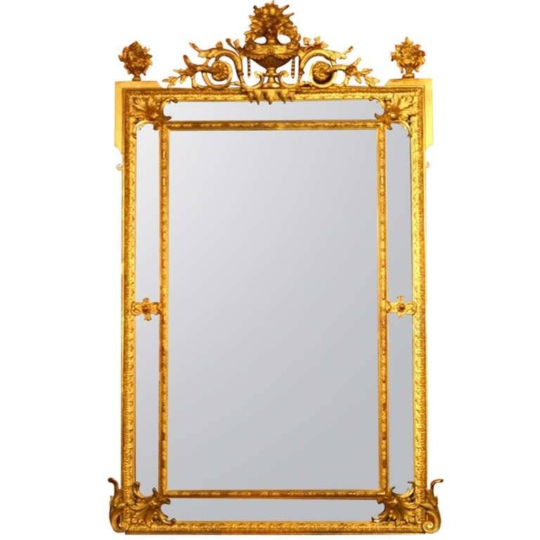Antique Large French 'cushion' Gilded Mirror C (View 6 of 20)