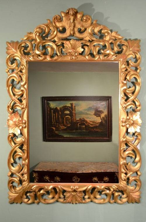 Antique Large Italian Florentine Gilded Mirror C (View 4 of 20)