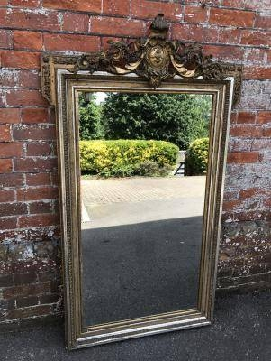 Antique Large Silver Mirror, Silver Wall Mirror, Silver Framed Intended For Large Silver Gilt Mirrors (#9 of 30)