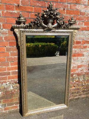 Antique Large Silver Mirror, Silver Wall Mirror, Silver Framed Throughout Large Silver Gilt Mirrors (#10 of 30)