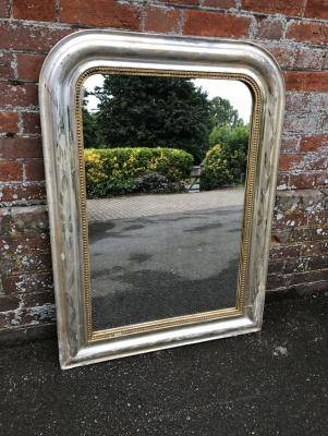 Antique Large Silver Mirror, Silver Wall Mirror, Silver Framed With Large Silver Gilt Mirrors (#11 of 30)