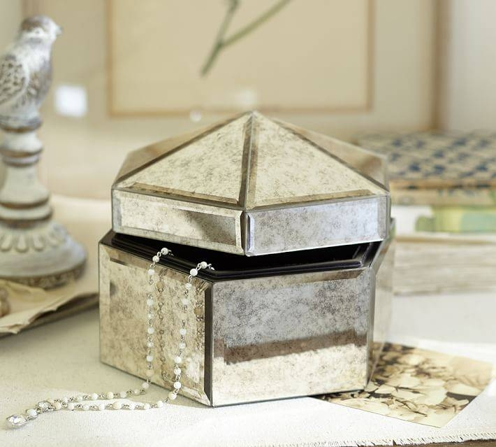 Antique Mirror Small Jewelry Box | Pottery Barn Within Small Antique Mirrors (View 15 of 20)