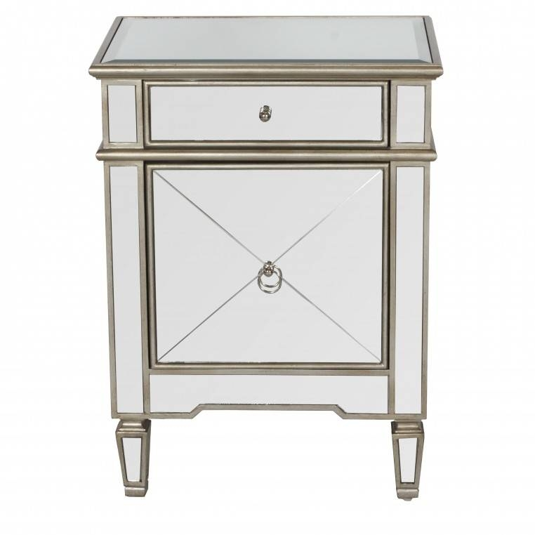 Antique Mirrored Nigthstand With Single Drawer Design With Curved Inside Bedside Tables Antique Mirrors (#9 of 20)
