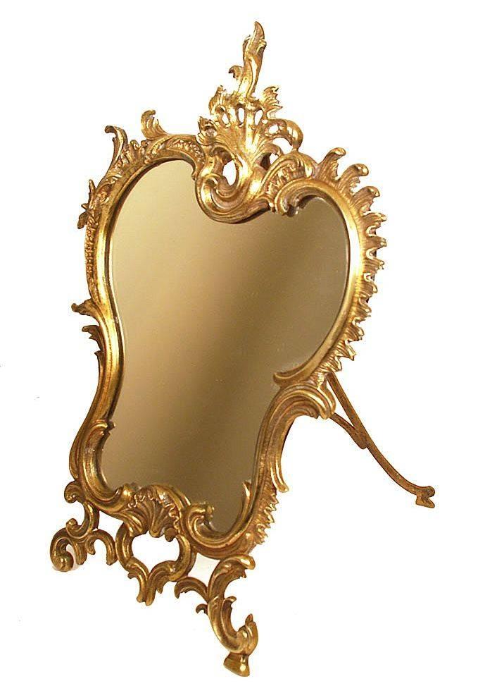 Antique Nineteenth Century Bronze Standing Table Mirror From Intended For Standing Table Mirrors (#4 of 30)