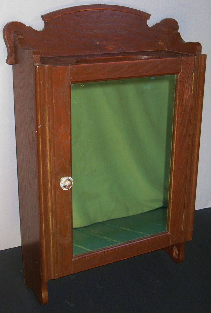 Antique Oak Wall Mount Medicine Cabinet Mirror Glass & Wood Within Antique Oak Mirrors (#10 of 20)