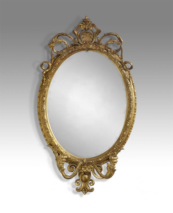 Antique Oval Mirror, Gilt Mirror, Candle Sconse Mirror, Gold Oval Within Victorian Mirrors (#6 of 30)
