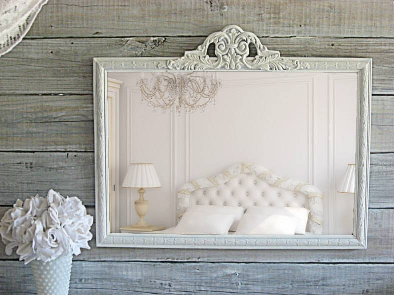 Antique Parlor Mirror 27 X 21 Shabby Chic White Throughout Shabby Chic White Mirrors (#9 of 30)
