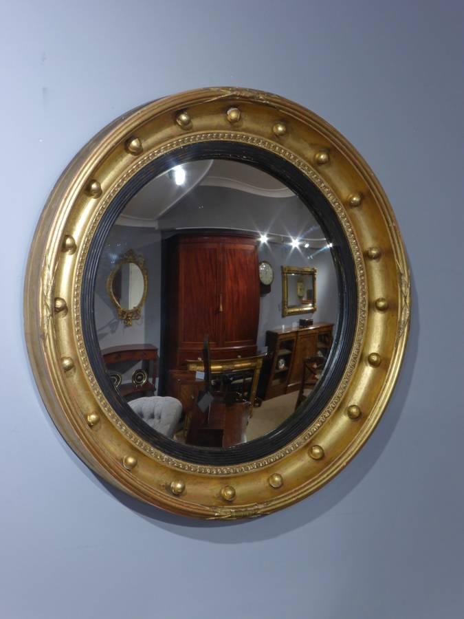 Antique Round Mirror, Convex Mirror, Butlers Mirror, Port Hole Regarding Round Convex Wall Mirrors (#10 of 30)