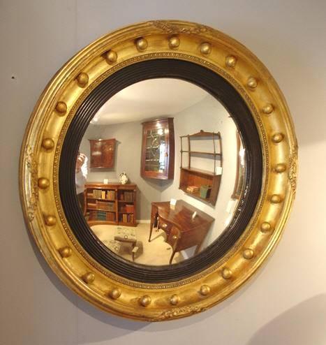 Antique Round Mirror / Regency Giltwood Convex Mirror : Antique In Round Antique Mirrors (View 16 of 30)