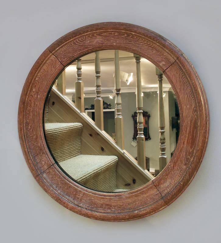 Antique Round Oak Mirror, Port Hole Mirror, Convex Mirror, Butlers Regarding Round Porthole Mirrors (View 23 of 30)