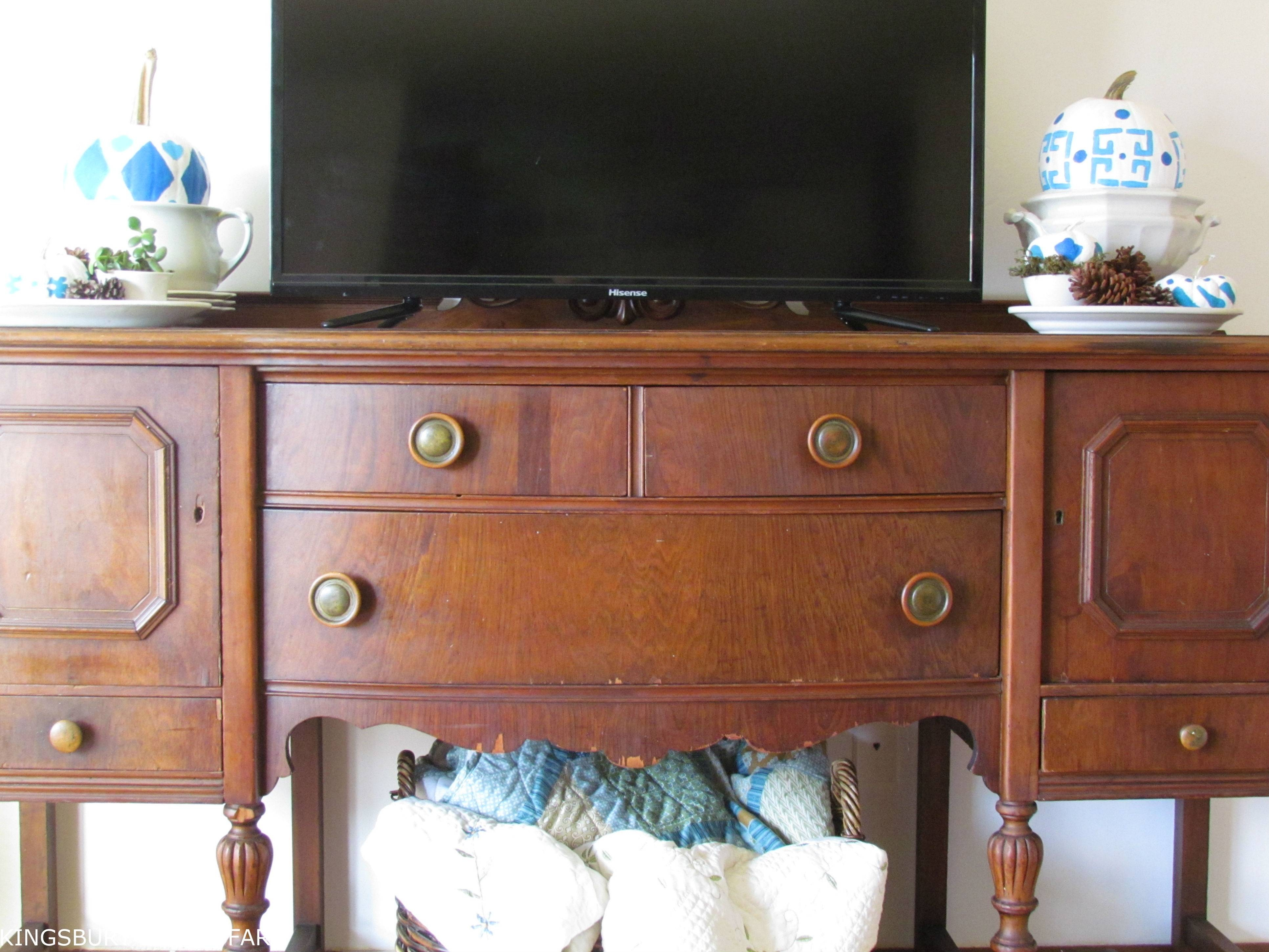 Antique Sideboard Turned Tv Stand – Kingsbury Brook Farm With Regard To Sideboard Tv Stand (#2 of 20)