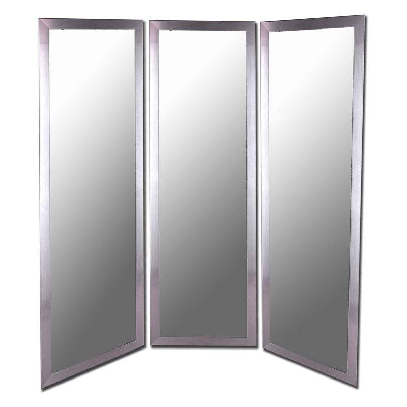 Antique Silver Full Length Free Standing Tri Fold Mirror  66W X Intended For Full Length Silver Mirrors (#2 of 20)