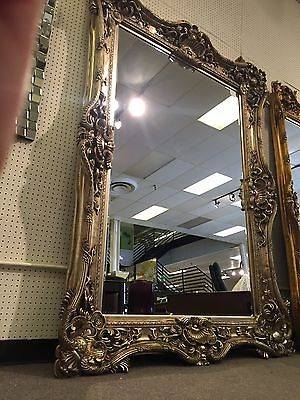Antique Silver Gothic Hollywood Xl Tuscan Ornate Baroque Rococo Regarding Baroque Floor Mirrors (#8 of 20)