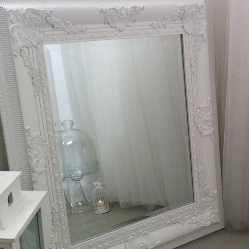 Antique Style Carved Mirror In White, Black, Silvermade With Love Pertaining To White Large Shabby Chic Mirrors (#10 of 30)