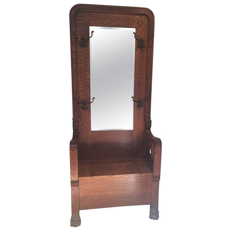 Antique Tiger Oak Hall Tree With Storage At 1Stdibs Intended For Antique Oak Mirrors (#11 of 20)