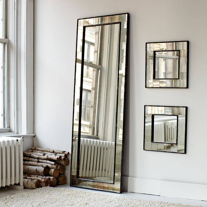 Antique Tiled Floor Mirror | West Elm Within Large Metal Mirrors (View 6 of 30)