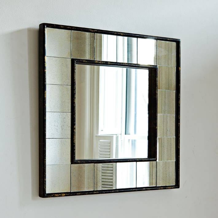 Antique Tiled Square Wall Mirror | West Elm Pertaining To Square Wall Mirrors (View 10 of 20)