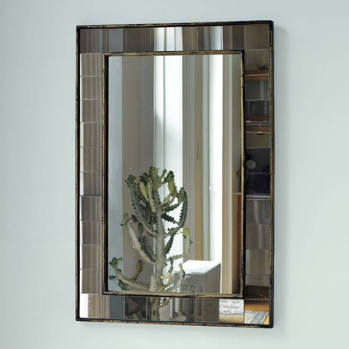 Antique Tiled Wall Mirror   West Elm Inside Small Antique Wall Mirrors (#6 of 30)