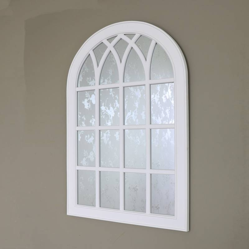 Antique White Arched Window Mirror – Melody Maison® Inside White Arch Mirrors (#6 of 30)