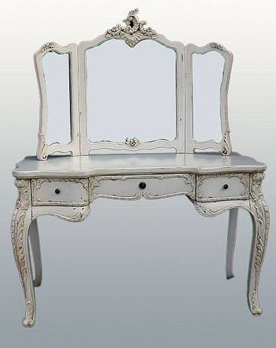 Antique White French Style Large Dressing Table & Mirror In French Style Dressing Table Mirrors (#4 of 20)