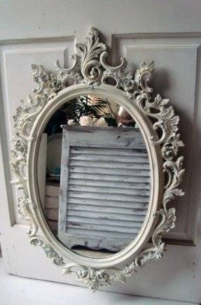 Popular Photo of Antique White Oval Mirrors