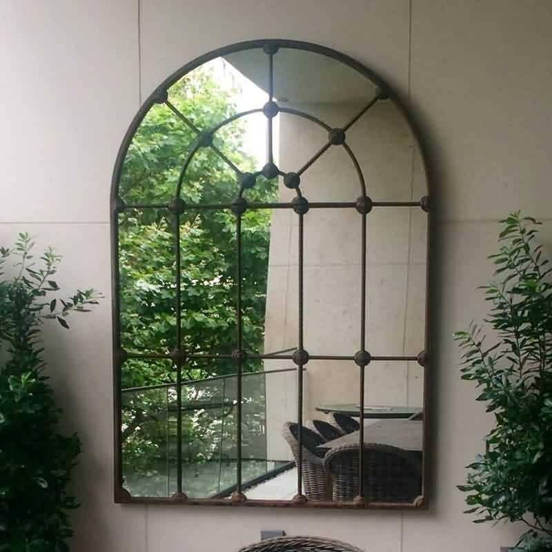 Antique Wrought Cast Iron Outdoor Garden Metal Window Mirror Intended For Metal Garden Mirrors (#12 of 30)