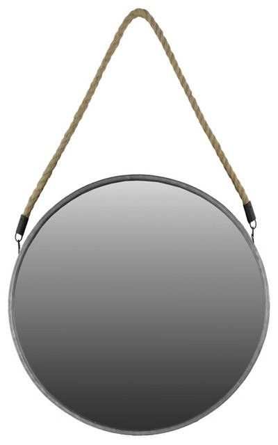 Antiqued Gold Metal Mirror With Rope Hanger – Beach Style – Wall With Large Round Metal Mirrors (View 5 of 30)