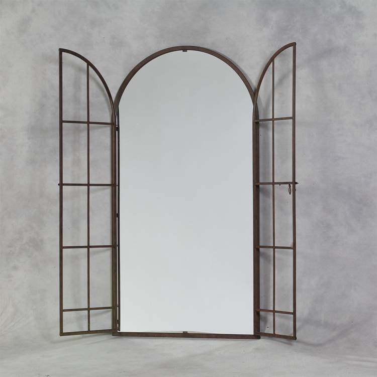 Antiqued Iron Large Arch Window Metal Mirror 170 X 90Cm Iron Metal Within Large Metal Mirrors (View 7 of 30)