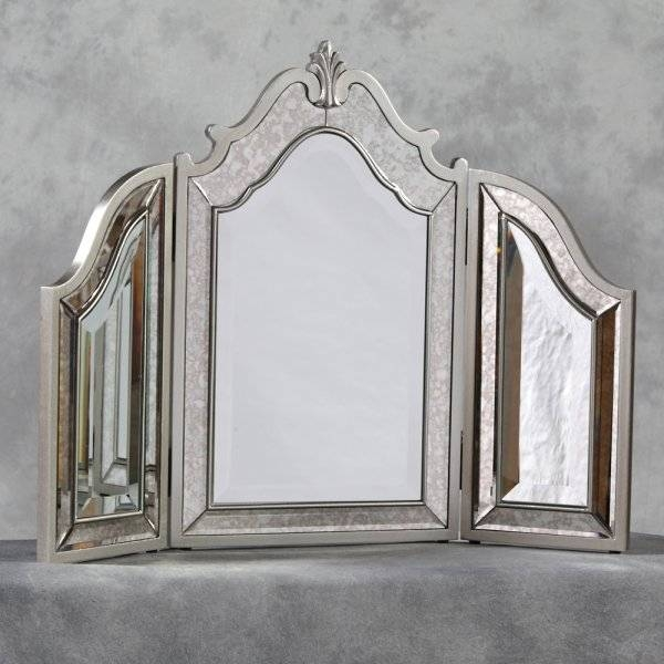 Antiqued Venetian 3 Fold Dressing Table Mirror In Venetian Table Mirrors (#3 of 20)