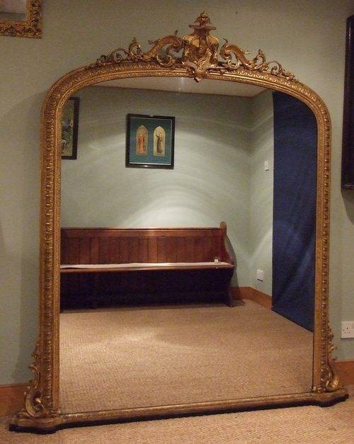 Antiques Atlas – Large English Antique Gilt Overmantle Mirror C1850 Intended For Large Mantel Mirrors (#8 of 30)