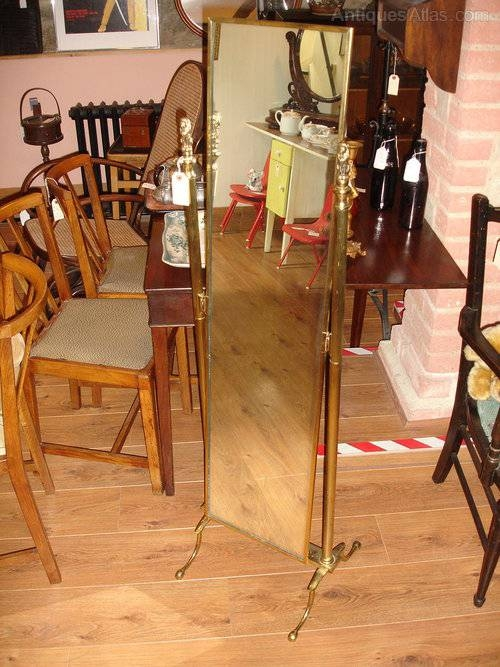 Antiques Atlas – Vintage Brass Cheval Full Length Adjustable Mirror Pertaining To Full Length Cheval Mirrors (View 12 of 20)